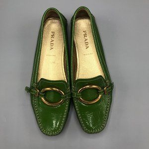 Prada Green Patent Leather Driving Shoes